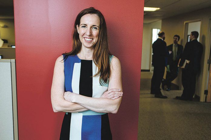 COLLEGIAL COUNSELOR: Angela Carr, a partner at Barton Gilman serves on the firm's hiring and compensation committees and puts emphasis on job candidates' ability to get along with peers inside and outside the firm. / PBN PHOTO/RUPERT WHITELEY