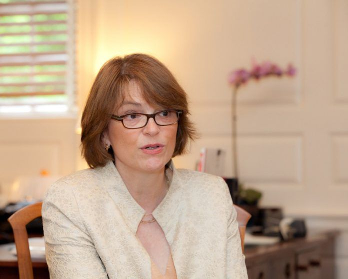 BROWN UNIVERSITY President Christina H. Paxson has taken a temporary leave from the Care New England board of directors until the state rules on the proposed Partners HealthCare-Care New England merger. / PBN FILE PHOTO/TRACY JENKINS