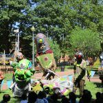 THE DOWNTOWN PROVIDENCE Parks Conservancy received $35,000 to help fund operations at Burnside Park from June through September. Above, Big Nazo performing at Storytime + Art in the Park. / COURTESY THE PROVIDENCE FOUNDATION/KRISTIN CRANE