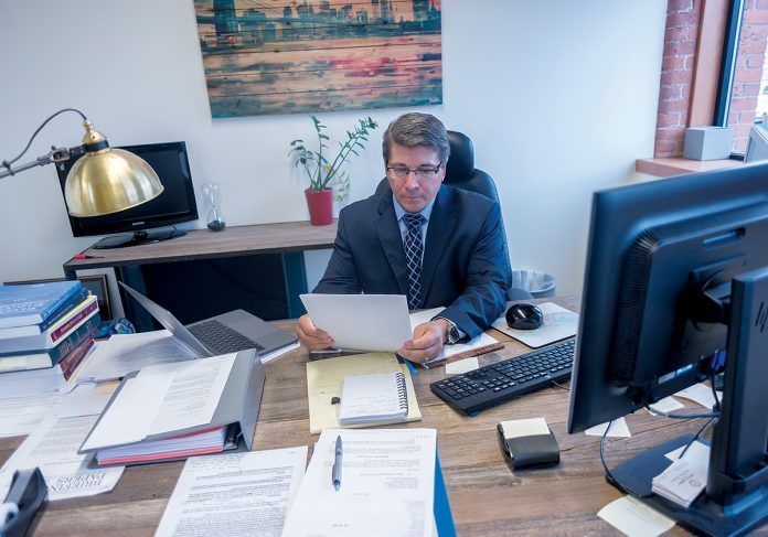 A FEDERAL JUDGE issued preliminary approval to a settlement between the St. Joseph Health Services of Rhode Island Retirement Plan and CharterCARE Community Board, St. Joseph Health Services of Rhode Island and Roger Williams Hospital. Attorney Stephen Del Sesto is the court-appointed receiver for the St. Joseph pension plan. / PBN FILE PHOTO/MICHAEL SALERNO