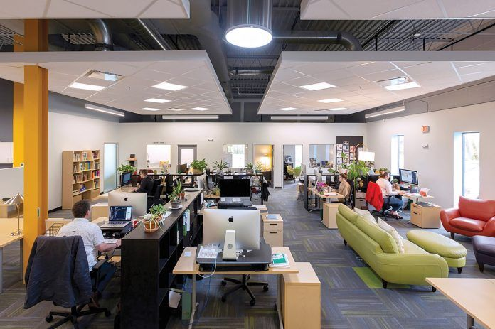 A NEW VENTURE: (add)ventures moved into new office space at 20 Risho Ave. in East Providence in early January, modernizing a former call center into an innovative, collaborative workspace. / COURTESY (ADD)VENTURES