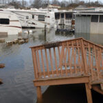 THE TEMPERATURE in Rhode Island has risen more than in any other state in the Lower 48 over the last century, according to The Washington Post. The temperature rise compounds the state's vulnerability to sea-level rise. Above, a trailer park on Matunuck Beach Road, South Kingstown, which was flooded following Hurricane Sandy in 2012. / PBN FILE PHOTO/BRIAN MCDONALD