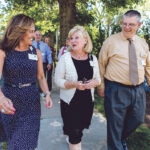MORE THAN PEDESTRIAN: South County Health employees, from left, Susan Woodard, Mary Phillips and David Fogerty join co-workers outside South County Hospital in South Kingstown for their regular walk around the campus for exercise. / PBN PHOTO/RUPERT WHITELEY