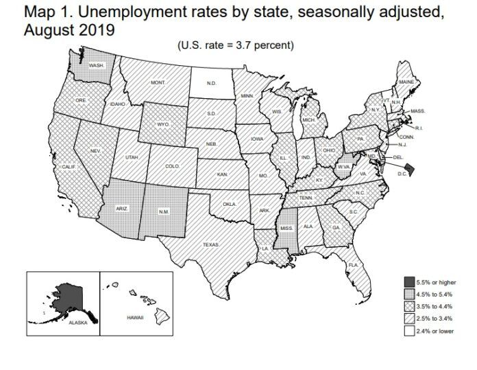 RHODE ISLAND'S JOBLESS RATE fell to 3.6% in August, but it came in at the highest rate in New England along with Connecticut, according to statistics released Friday. / COURTESY U.S. BUREAU OF LABOR STATISTICS