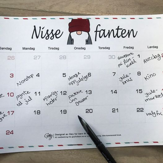 Planlegg Rampenissens julekalender - last ned og skriv ut kalender, helt gratis!