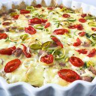 Pai med skinke og brokkoli