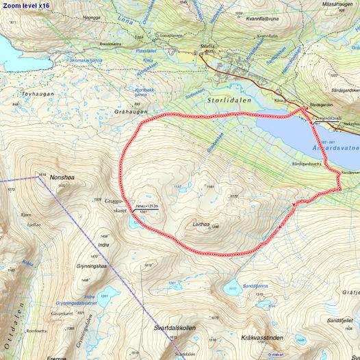 Skiløypa Bårdsgarden – Rundt Lorthøa – Bårdsgarden, 16 km