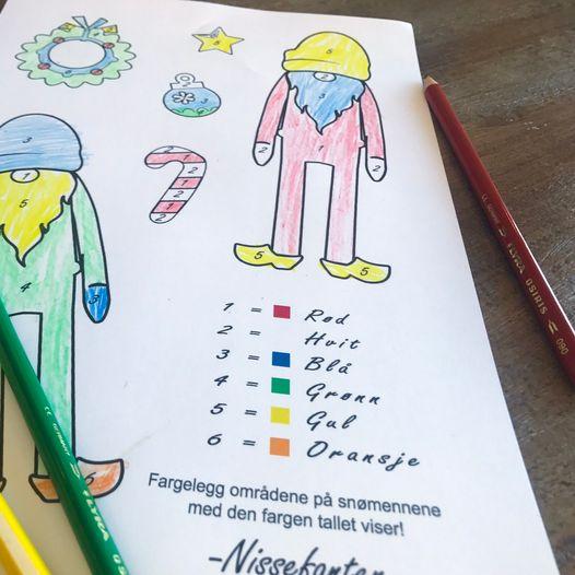 Fargeleggingsark med tall – fargelegg Nissefanten