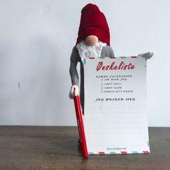 La barna skrive ønskeliste som Rampenissen sender til Julenissen