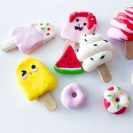 Mini iskrem og mini dounuts laget med Fimoleire