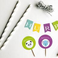 Barnebursdag med fargerikt dyretema - Last ned gratis print