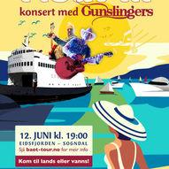 """Gunslingers """"Float-in"""" konsert på Eidsfjorden Sogndal"""