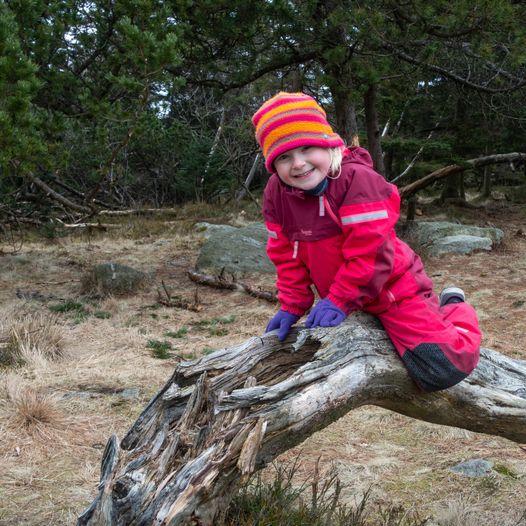 Marikken (5 år) koser seg på tur til Ulvatjørna
