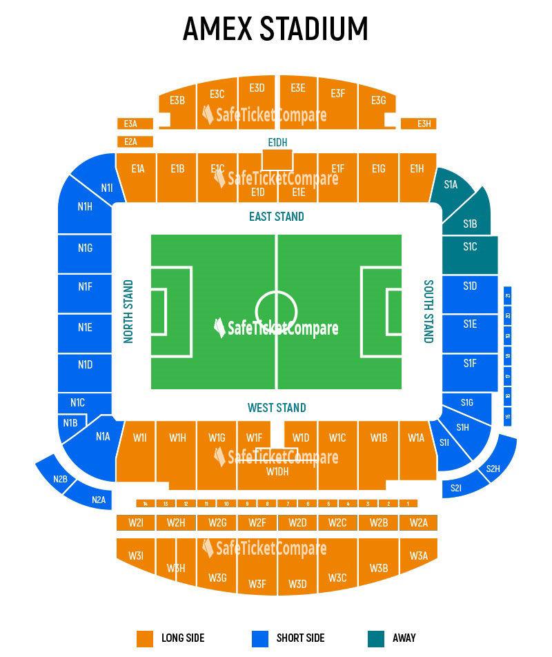 seating plan and map of Amex Stadium (Brighton)