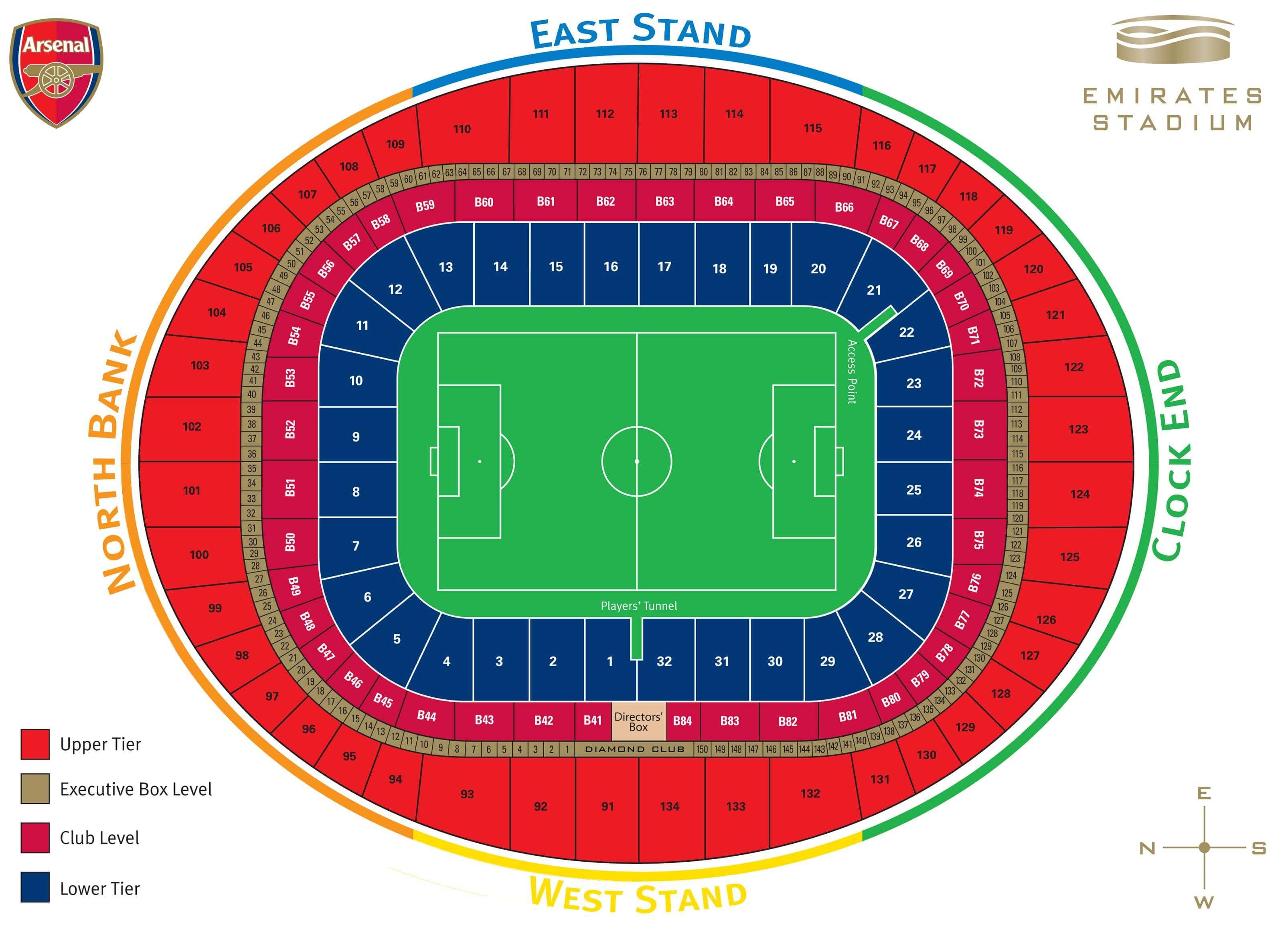 Emirates Stadium Seating Map