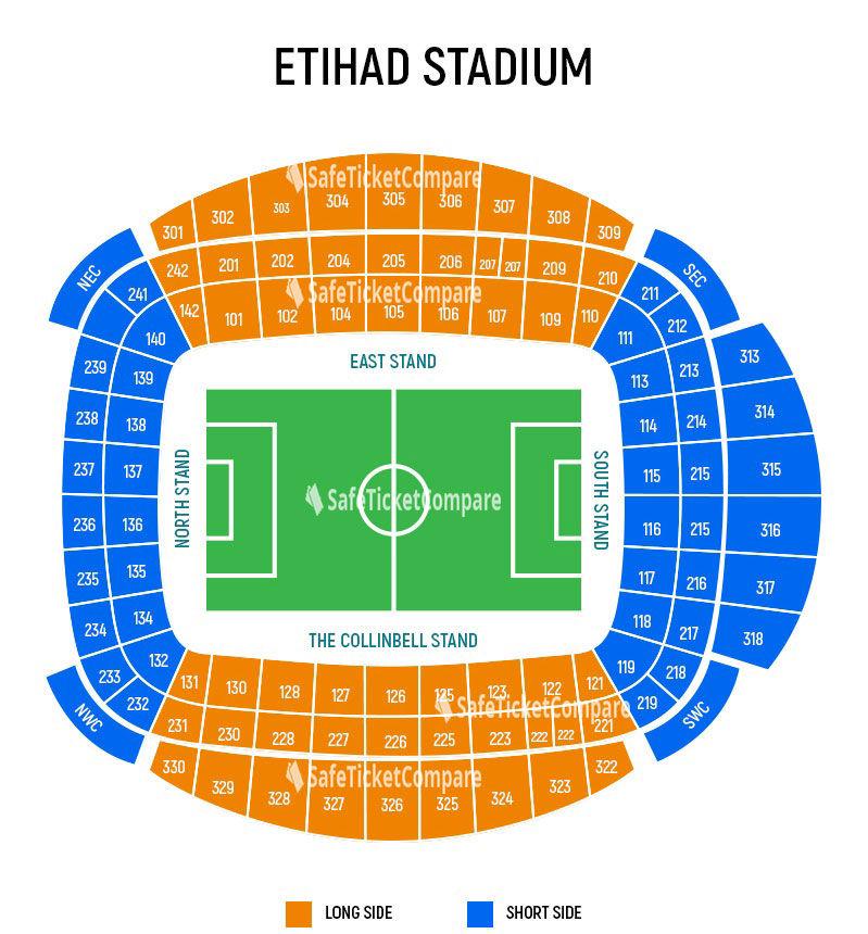 seating plan and map of Etihad Stadium (Manchester)