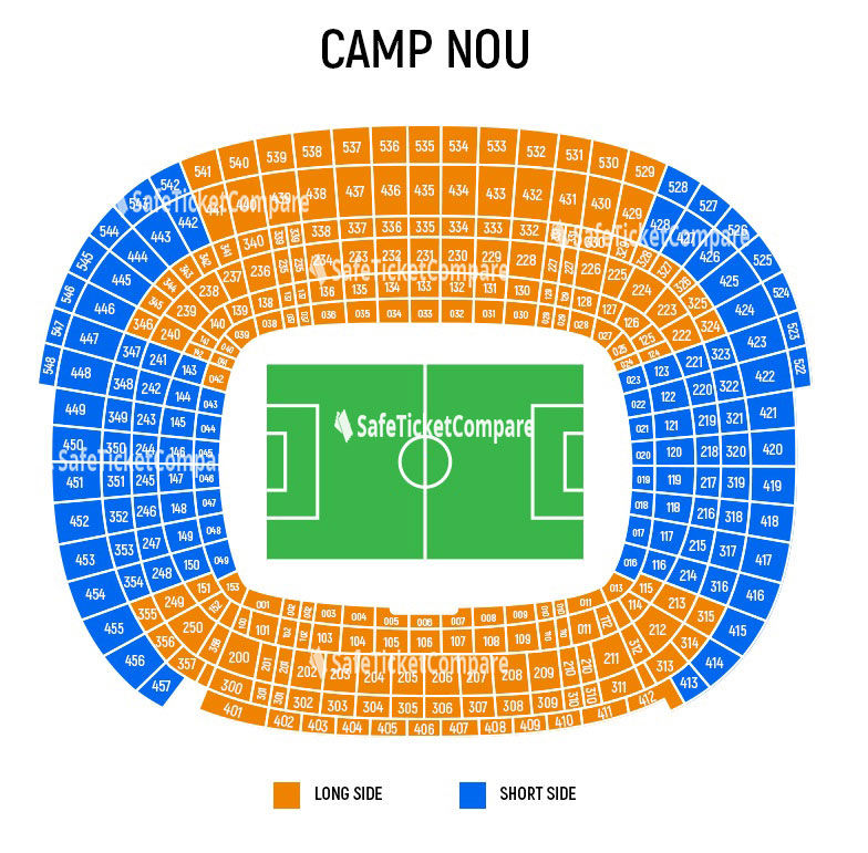 seating plan and map of Nou Camp (Barcelona)