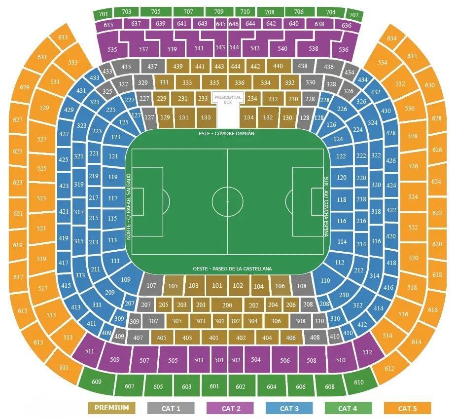 seating plan and map of Santiago Bernabeu (Madrid)