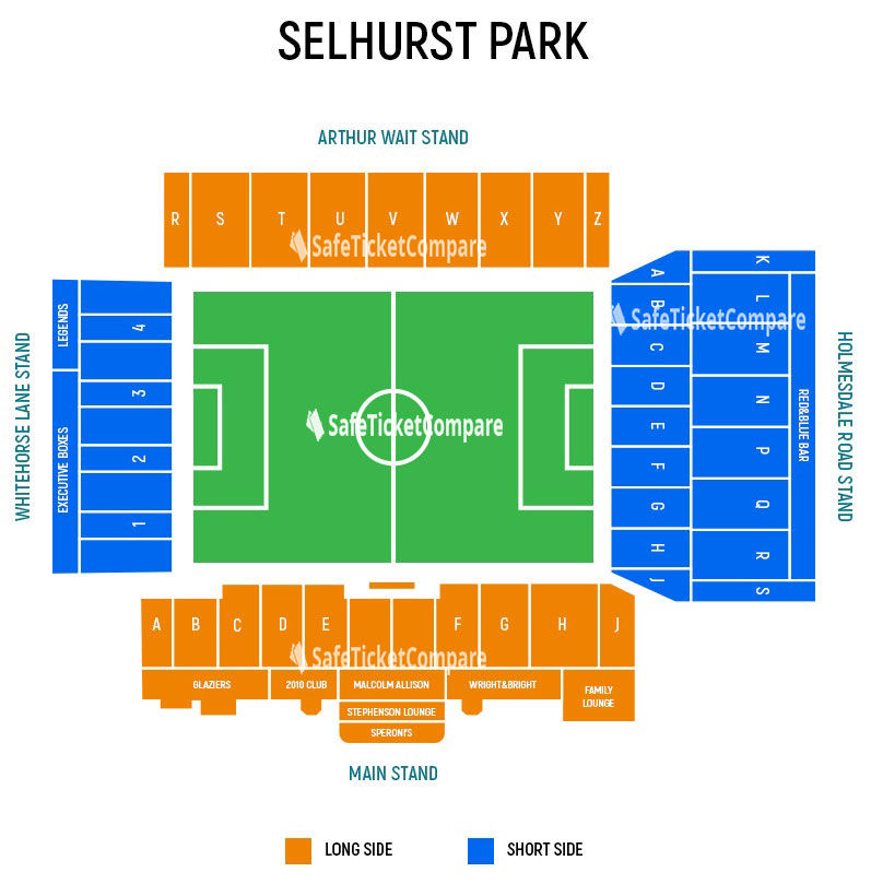 seating plan and map of Selhurst Park (London)