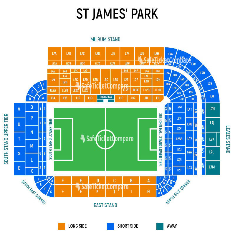 seating plan and map of St. James Park (Newcastle)
