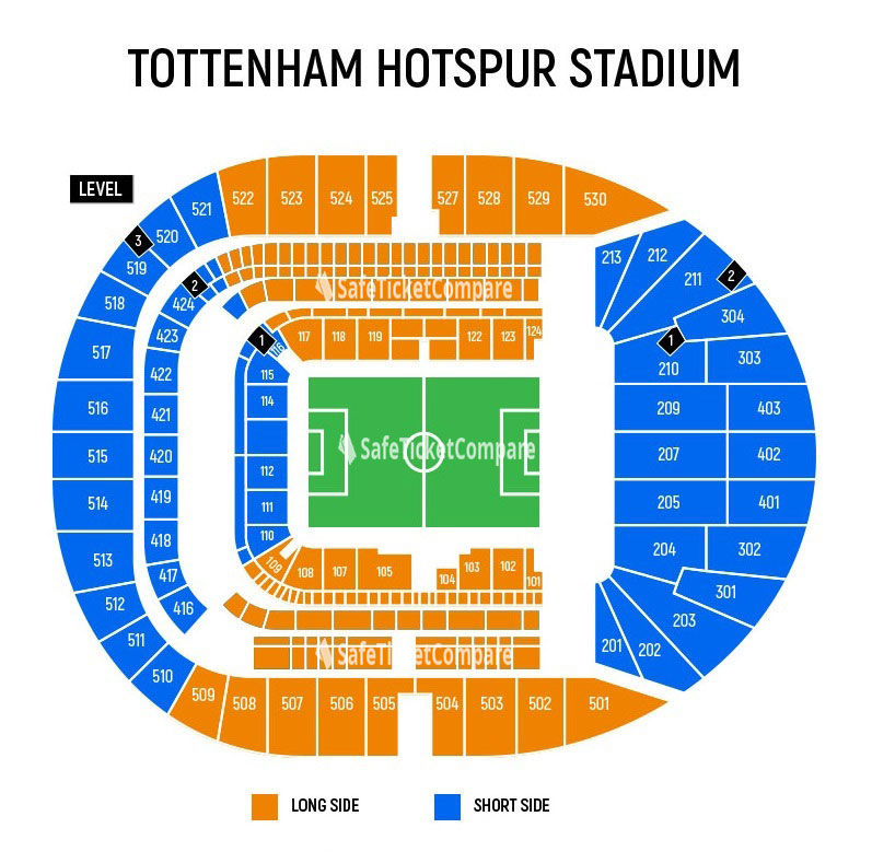 seating plan and map of Tottenham Hotspur Stadium (London)