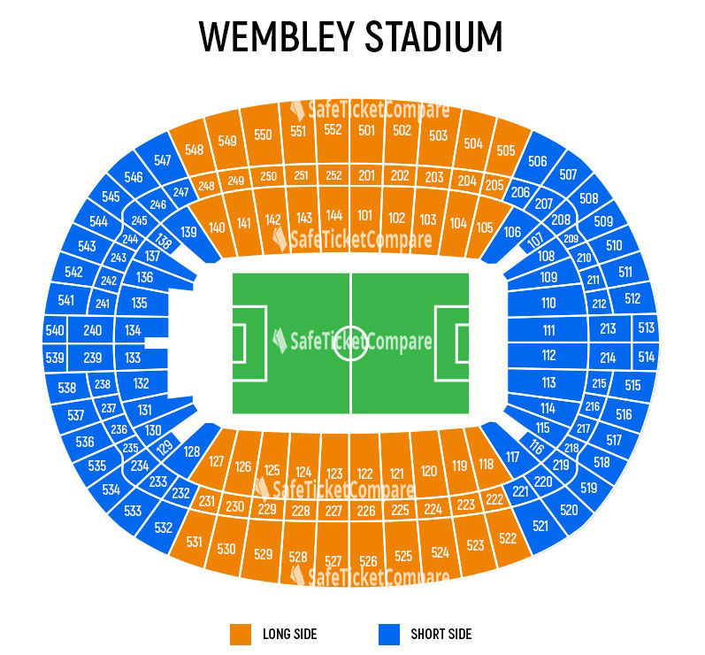 seating plan and map of Wembley Stadium (London)