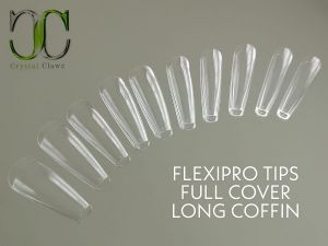 Full FlexiPro Nail Tips - Clear Long Coffin (500 pieces)