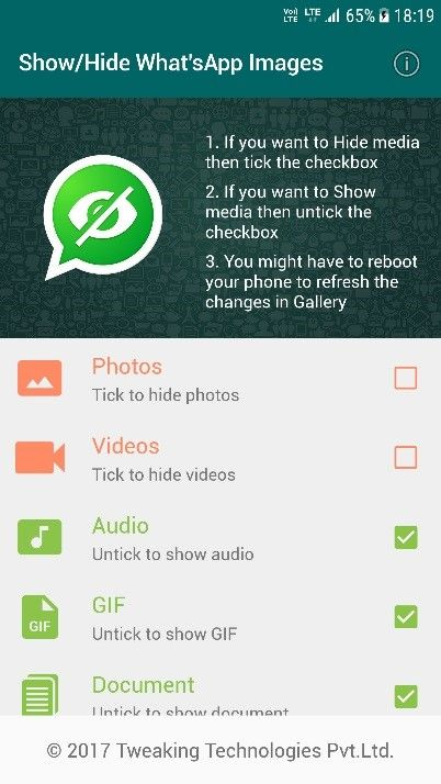 show hide whatsapp images