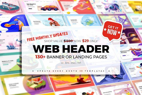 Landing page web header templates