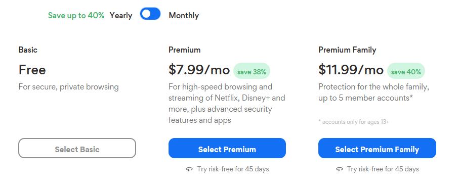 Hotspot Shield VPN Pricing