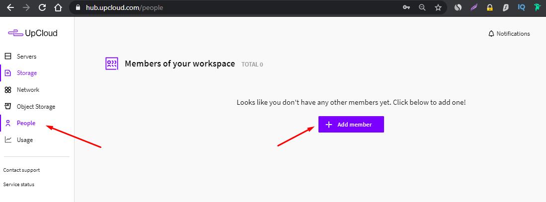 Add Members in Upcloud Workspace