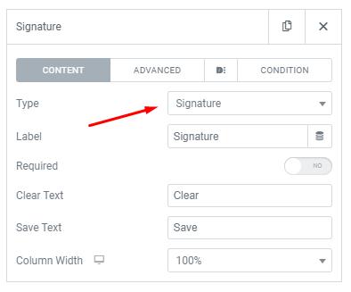 Dynamic Elementor Form Signature Field