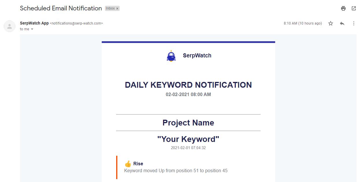 SERPwatch Keywords Email Notification