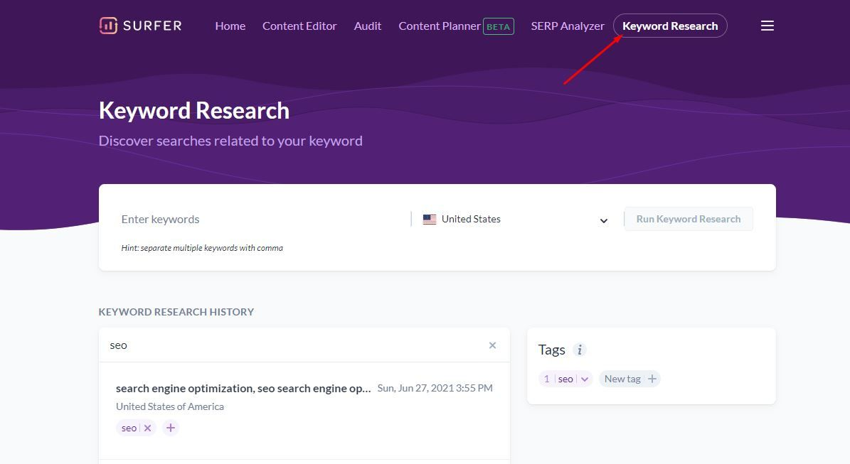 Keyword Research in Surfer SEO
