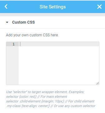 Custom CSS in Elementor Plugin