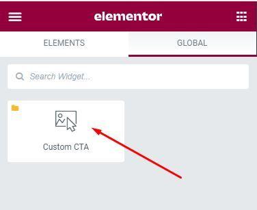 Custom Global Widget in Elementor Sidebar Panel