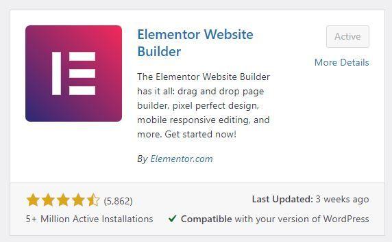 Elementor Free Plugin for WordPress