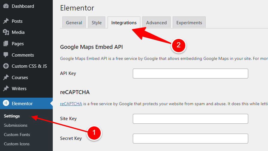 Elementor Integrations for reCaptcha, Mailchimp and Font Awesome