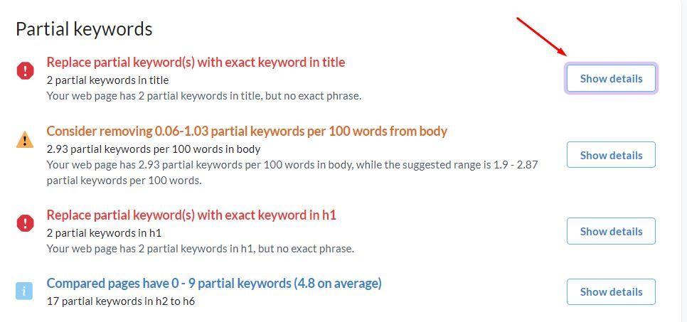 Partial Keywords in Surfer SEO