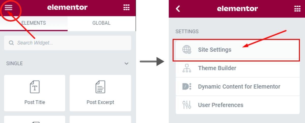 Site Settings in Elementor Pro