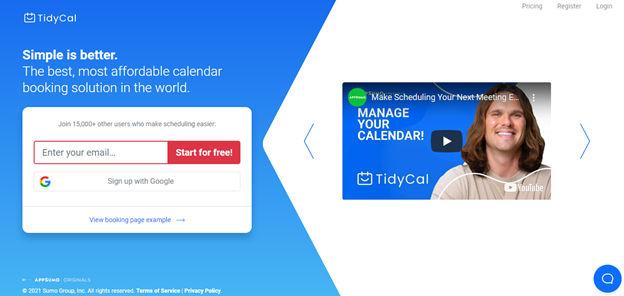 Tidycal Online Calendar Booking Solution
