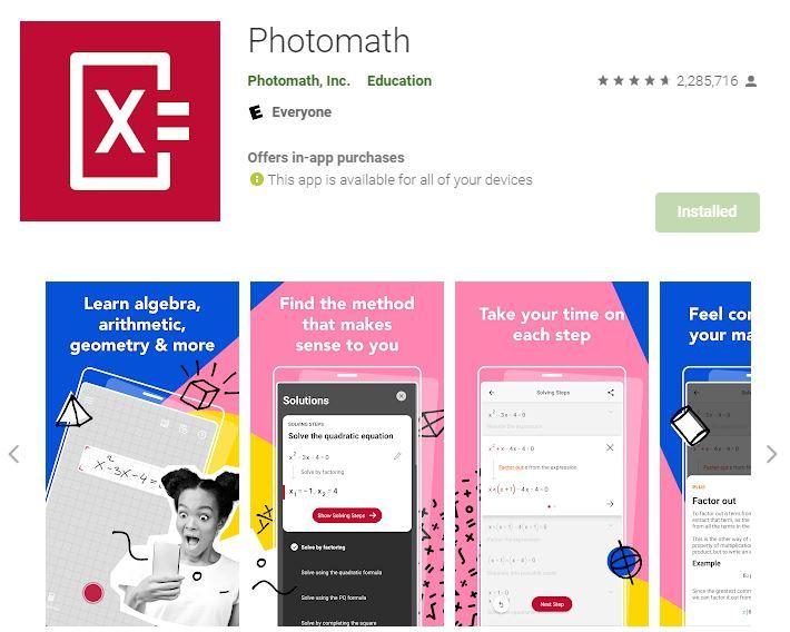 Best Math Solving App Android - Photomath