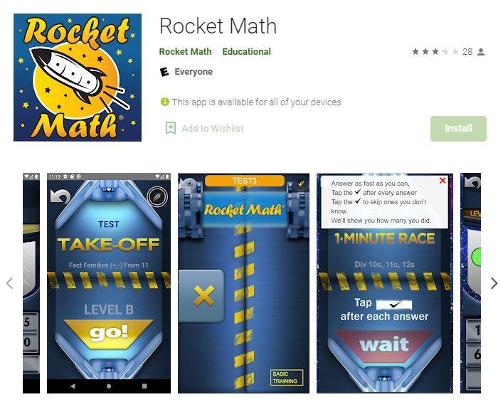 Rocket Math Learning Program App Android