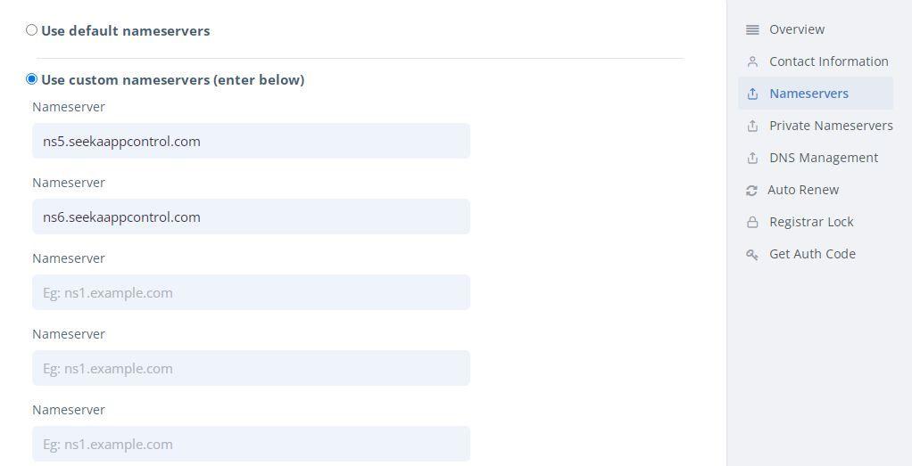 Seekahost Using Custom Nameservers