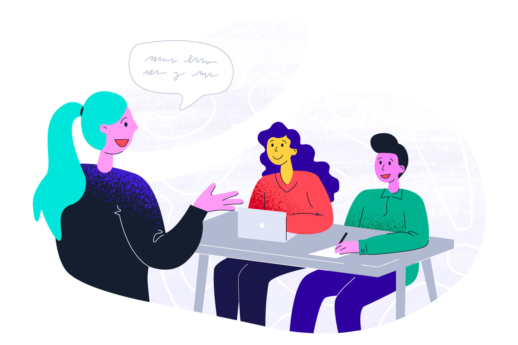 Abstract illustration of therapist on a video call