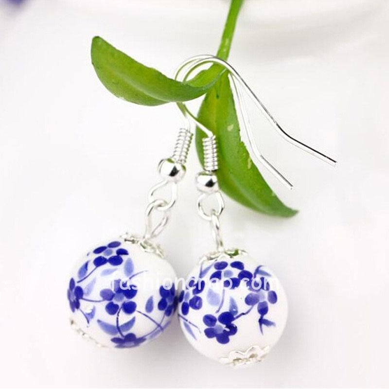 Ceramic Blue White Dangle Earrings