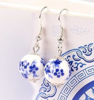 Ceramic blue white dangle earring