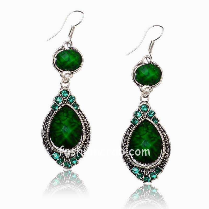 Green blue Long Ethnic Earrings