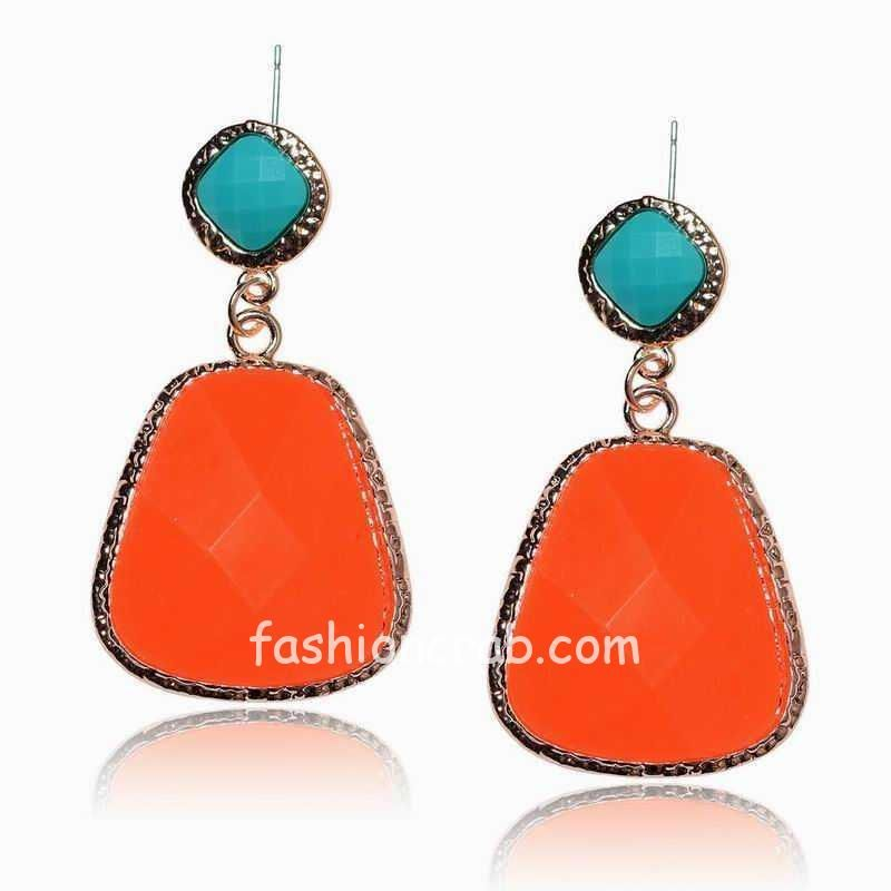 Orange blue Long Ethnic Earrings