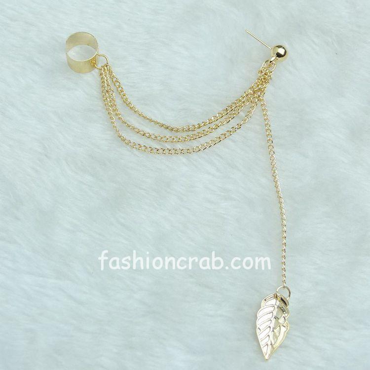 Rock Leaf Chain Tassel Dangle Ear Cuff Wrap Earring for women